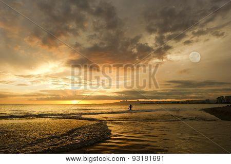 Sunset Girl Ocean Moon