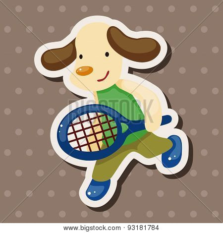 Animal Doing Sports Cartoon Theme Elements