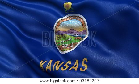 US state flag of Kansas with great detail waving in the wind.