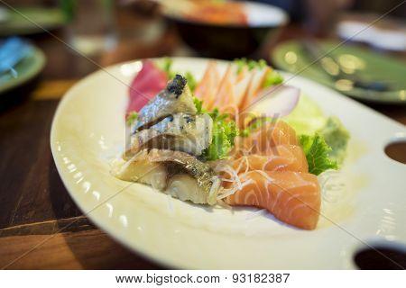 Mix japanese sashimi small set.