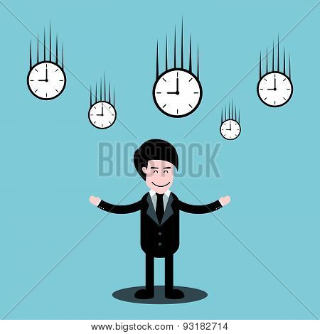 Businessman Standing And Time Clock Falling