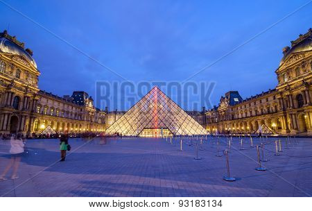 Paris, France - May 14, 2015: Tourist Visit Louvre Museum In Paris