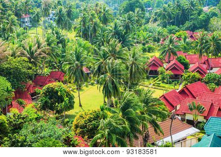 Beautiful Thai bungalows. Top view. Haad Yao, Phangan, Thailand.