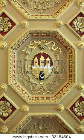 Coat of arms of Prague depicted on the ceiling in the Zofin Palace in Prague, Czech Republic.