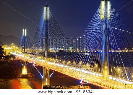 Ting Kau bridge at night, Hong Kong landmark
