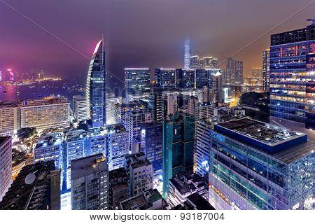 Tsim Sha Tsui at night, hong kong downtown area