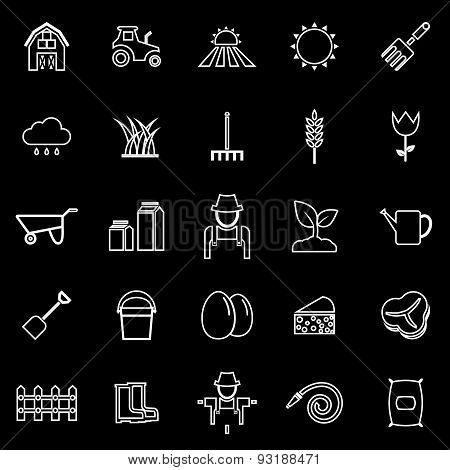 Farming Line Icons On Black Background