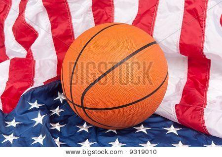 Basketball On American Flag