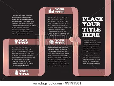 Brown Wrap Around Ribbon Infographic Vector Background