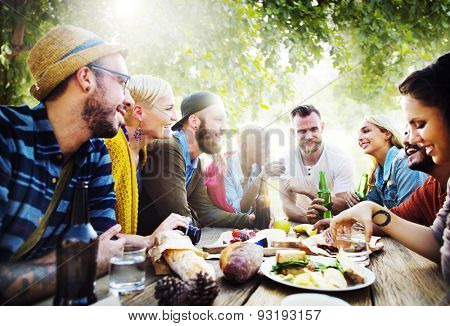 Diverse Yard Summer Friends Fun Bonding Concept