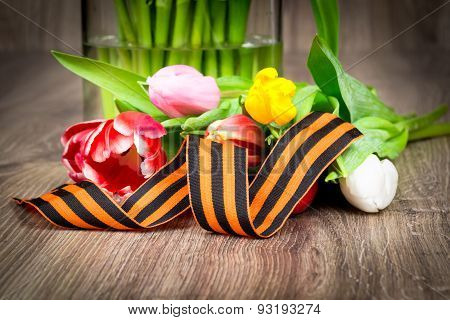 Tulips and George ribbon