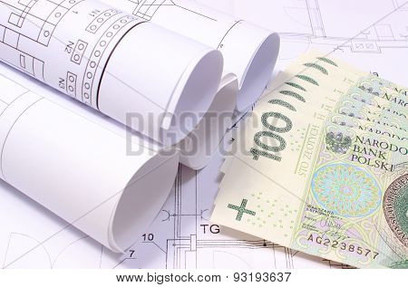 Rolled Electrical Diagrams On Construction Drawing Of House And Money