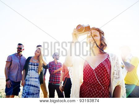 Friendship Photography Relaxation Summer Beach Happiness Concept