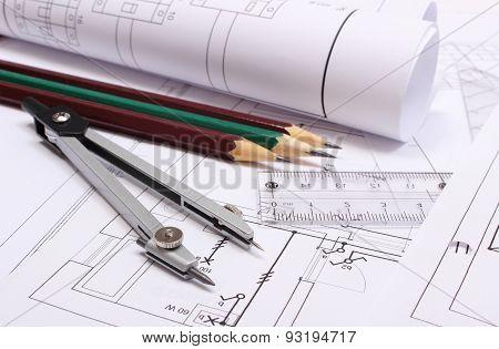 Rolled Electrical Diagrams And Accessories For Drawing