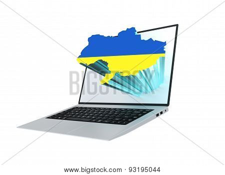 Laptop With Map Of Ukraine Containing The Ukrainian Flag