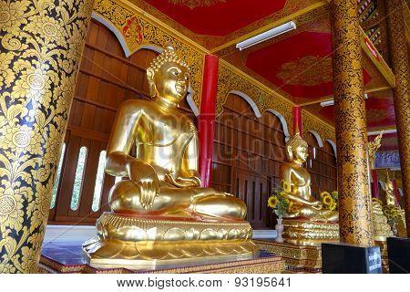 Golden Buddha Statue In Monastery In  Thailand