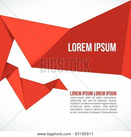 Red Paper Origami Polygonal Shape vector background