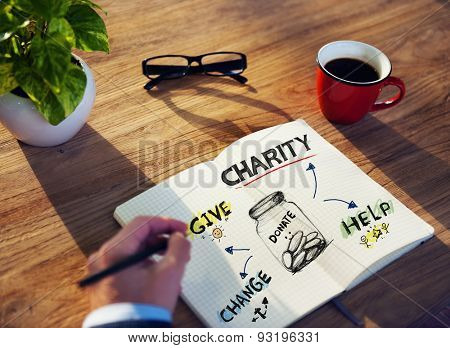 Businessman Charity Volunteer Support Planning Helping Concept