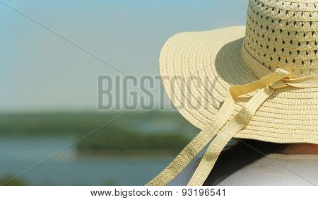 Summer background-woman wearing hat