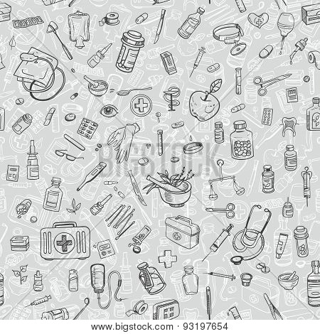 Health Care Hand Drawn Seamess Background