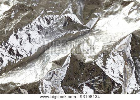 Silver crumpled foil