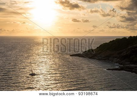 Sunset Over Sea At Laem Phrom Thep Phuket Thailand