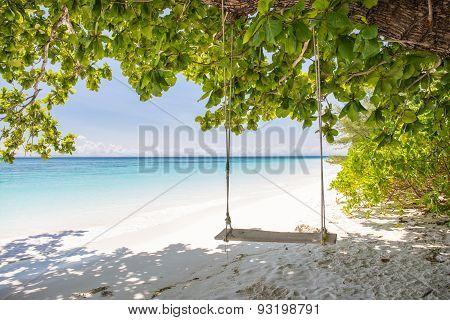 Swing On Beautiful Crystal Clear Sea And White Sand Beach At Tachai Island, Andaman, Thailand