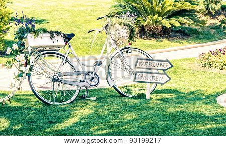 Old White Wedding Bicycle On Green Garden Near Flowers