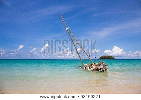 Abandoned Shipwreck On The Coast At Kata Beach Phuket Thailand, Tourist Landmark