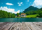 image of bavaria  - Alpsee lake at Hohenschwangau near Munich in Bavaria - JPG