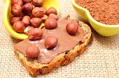 stock photo of hazelnut  - Closeup of hazelnut lying on slices of bread with chocolate cream heap of hazelnut and cocoa in background - JPG