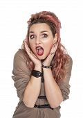 picture of screaming  - Surprised beautiful woman screaming isolated over white - JPG
