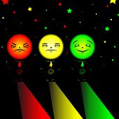stock photo of angry smiley  - Men tricolor with power button  - JPG