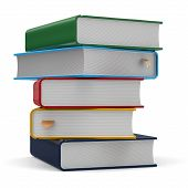 image of 5s  - Textbook stack books five 5 blank different colorful multicolor and bookmark - JPG