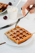 image of whip-hand  - Breakfast with wholegrain brussels waffles and whipped cream - JPG