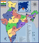 pic of political map  - Illustration of a Political Map of India with Flag and Location - JPG