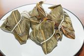 picture of chinese wok  - Zongzi in a plate - JPG