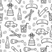 Seamless background with cute hand drawn objects on Cuba theme poster