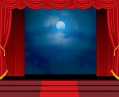 picture of curtains stage  - moonlight on red curtain stage with stairs - JPG