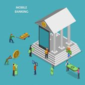 pic of coin bank  - Mobile Banking Flat Isometric Vector Concept - JPG