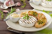 stock photo of baguette  - Grilled camembert with Dijon mustard and herbs baguettes - JPG