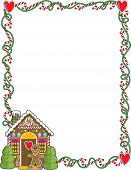 image of candy cane border  - A border or frame featuring Christmas candy canes and a gingerbread house - JPG