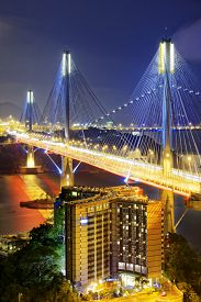 foto of hong kong bridge  - Ting Kau bridge at night - JPG