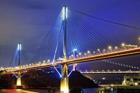 stock photo of hong kong bridge  - Ting Kau bridge at night - JPG