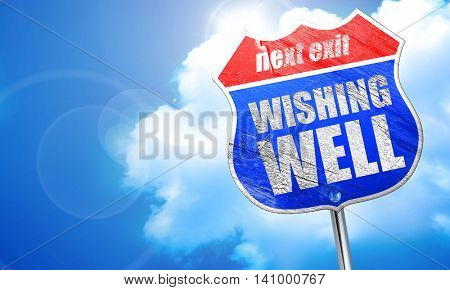 wishing well, 3D rendering, blue street sign