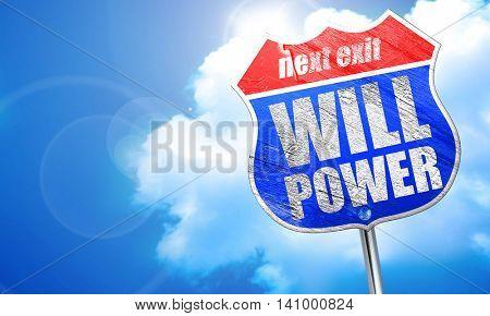 willpower, 3D rendering, blue street sign