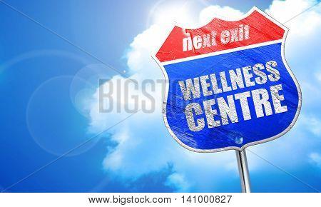 wellness centre, 3D rendering, blue street sign