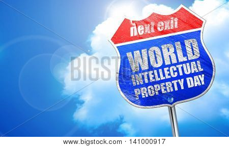 world intellectual property day, 3D rendering, blue street sign