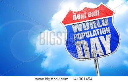 world population day, 3D rendering, blue street sign