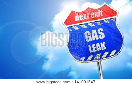 Gas leak background, 3D rendering, blue street sign